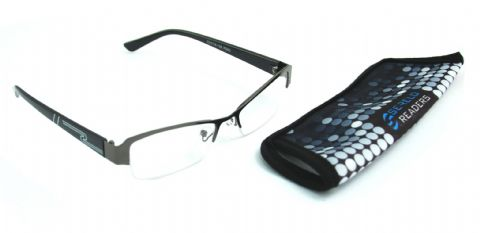 "Serelo Unisex Reading Glasses ""Pebmarsh"" Black Metal Frame with Case (Black,3.50 x)"